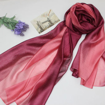 Harga La Vie Cotton Linen Scarf Women Silk Scarves Long Cape 195*68cm(Wine Red)