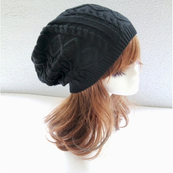 Winter Warm Wool Beanie Cap Women Baggy Crochet Knit Skull Ski Hat - intl