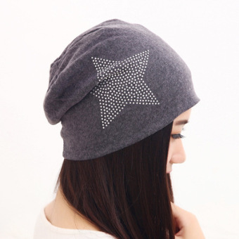Harga Ms. pure cotton set of head cap baotou cap spring and autumn fashion new korean version of the thin air conditioning cap turban hat month of cap (Pentagram cap-dark gray)