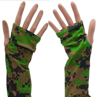 Harga 1 Pair Sun-block Sports Outdoor Cooling Cooler Arm Sleeves Glove Sunscreen Skin Protection for Golfing Cycling Boating Camouflage - intl
