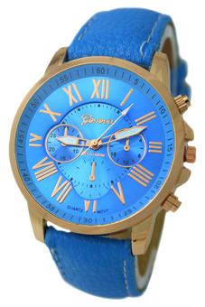 Harga BlueLans Geneva Roman Numerals Faux Leather Wrist Watch Light (Blue)