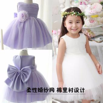 Harga Girls Sleeveless Dresses Summer Children Party Princess Girls Dresses A-Line Lace Flower Dresses L17025 (White) - intl