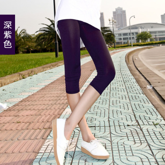 Harga Yoga pant female summer candy color leggings slim thin section was thin outer wear large size ice silk in 7 hours shorts (Deep purple)