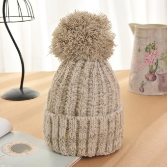 Winter Warm Women Lady Crochet Ski Cap Beret Beanie Bobble Wool Knit Crochet Hat Beige - intl