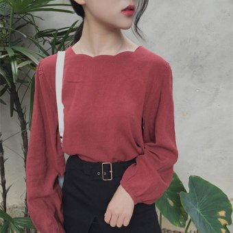 Harga South korea ulzzang autumn women korean institute of wind loose long sleeve doll shirt blouse korean fan student shirt (Blackish green)