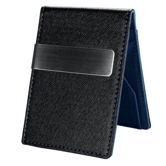 Harga New Fashion Korean Style High Quality Men Mini Money Wallet With Clip(Blue) - intl