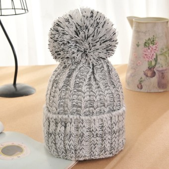 Winter Warm Women Lady Crochet Ski Cap Beret Beanie Bobble Wool Knit Crochet Hat White - intl