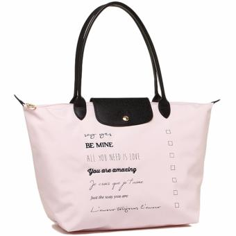 Harga Longchamp Le Pliage St. Valentin Large 1899 Long Handle Shoulder Tote Bag (Pink) [LIMITED EDITION]