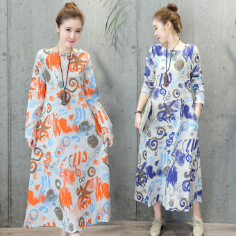 Harga National Wind Linen loose Print plate buttons long-sleeved dress