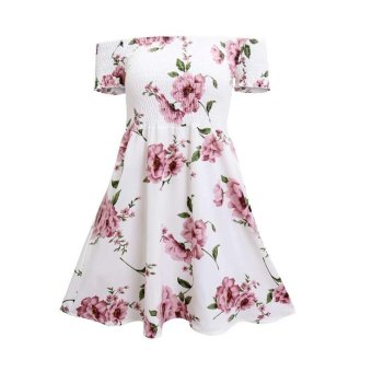 Harga Spring Summer New Beach Women Fashion Sexy Off Shoulder Flower Printed Short Sleeves Casual Bohemian Dress - intl