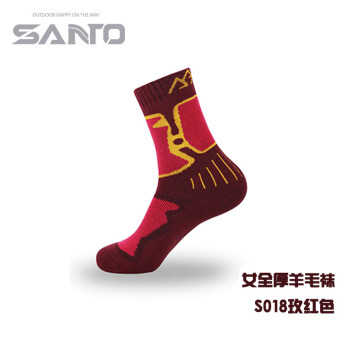 Harga SANTO socks men and women casual hiking mountaineering socks moisture wicking quick-drying breathable wear and warm sports socks (18 female rose full thick wool socks)