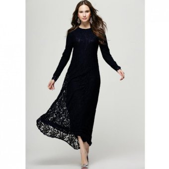 Harga Muslim Wear Women Baju Kurung Long Sleeve Lace Dress L16017 Black (EXPORT)