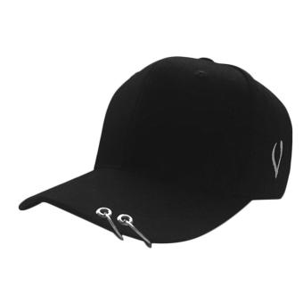Harga UINN New Streetnovelty Unisex Cotton Ring Hoop Pin Curved Hat Hip Hop Baseball Cap black with 2 hoops