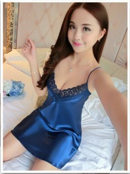 Harga UR Pure silk dress sexy thin nightdress Ladies Silk clothing Home Furnishing pajamas Blue - intl