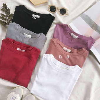 Harga Rena with good helper spring and summer Korea Slim fit Slimming effect round neck solid color good texture bottoming shirt short-sleeved t-shirt (Gray)
