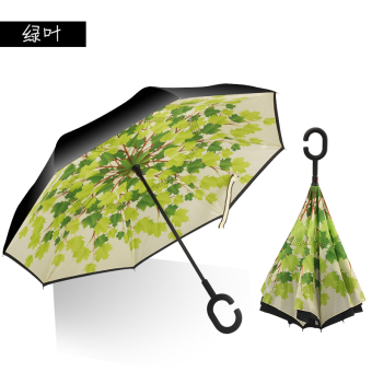 Harga Fashion anti-UV manual open close reverse umbrella sun protection SUN umbrella inverted umbrella fold umbrella (Green leaf)