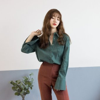 Harga M home homemade solid sense of design geometric cotton spring dongguk door loose shirt long sleeve shirt female 2017 (Green)