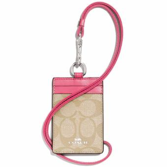 Harga Coach Signature PVC Lanyard ID Light Khaki / Strawberry # F63274