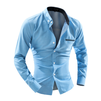Harga Men's fashion casual long-sleeved shirt Slim dot sky blue - Intl