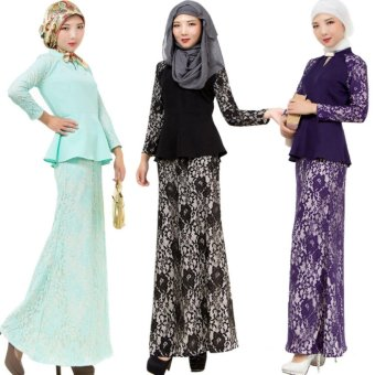 Harga 2017 Spring Summer Muslim Wear Lace Baju Kurungs Long Dresses for Women (Light Green) - intl