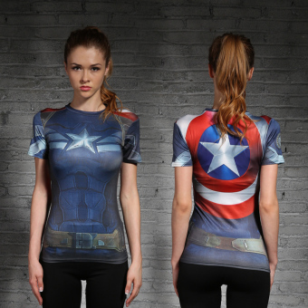 Harga Tights woman captain america avengers 2016 sports and fitness yoga stretch short sleeve wicking (New captain america)