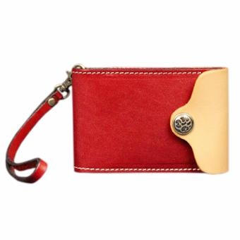 Harga Genuine Leather Credit Card Holder Wallet with Lanyard by Boshiho(Red) - intl