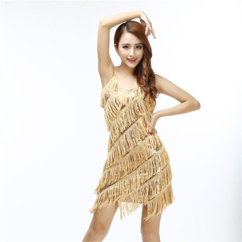 Harga Sexy women stunning flapper fringe gold vintage great gatsby charleston sequin party latin dance dress - intl