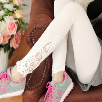 Spring and summer thin section tight leggings outer wear long pants large size feet stretch cotton lady pantyhose (White)