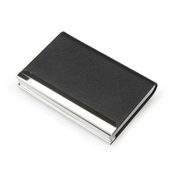 Harga RZ Business Name Card Holder Luxury PU Leather & Stainless Steel Multi Card Case,Business Name Card Holder Wallet Credit card ID Case / Holder For Men & Women (Black)