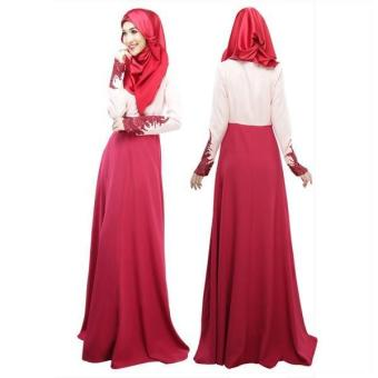 Harga 2017 Women's Islamic Muslim Wear Lace Slim Long Dress Baju Kurung Arab Loose-fitting Clothing Wear Special for Ramadan (Red) - intl