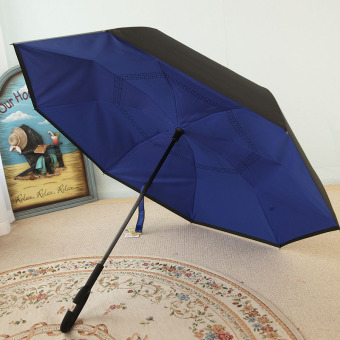 Harga Spring and summer new double umbrella anti open ms. reverse drive creative long umbrella umbrella straight umbrellas (Kl1218 navy blue (no cover))