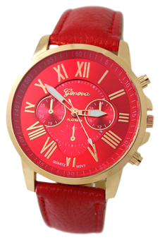 Harga BlueLans Geneva Roman Numerals Faux Leather Wrist Watch (Red)