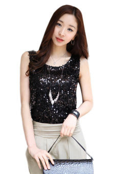 Harga Girl's Bling Vest Sequin Sleeveless Tank Top (Black)