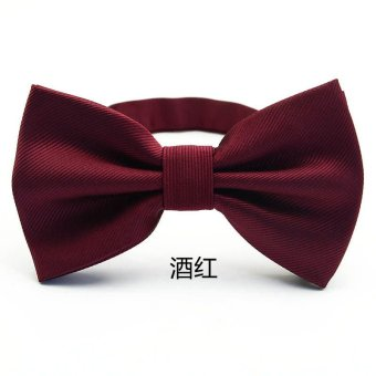 Harga LRZYOU men's formal wear business suit wedding groom groomsman bow wine red black stripe big bow tie (Red wine)