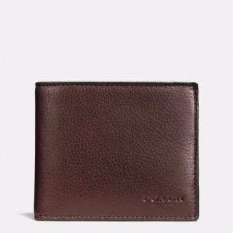 Harga Coach F74991 Compact Id in Sport Calf Leather Men's wallet (Mahogany brown)