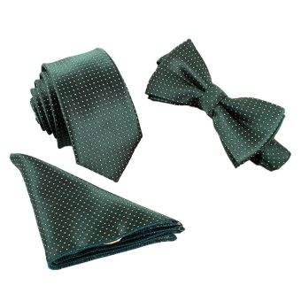 Harga Whyus-Christmas Gift New Cool Business Men Stylish Polka Dot Floral Bow Tie Dickie Bow & Pocket Square Hankie Handkerchief Set(Green) - intl