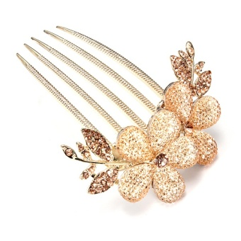 Harga Fashion Women Girl Lily Flowers Rhinestone Hair Pin Clips Barrette Comb Purple Champagne - intl