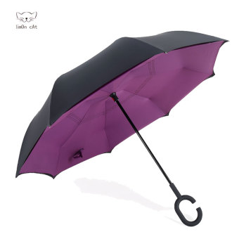 Harga Reverse reversal reflexed umbrella creative double umbrella umbrella sun umbrella skillet large men and women car advertising umbrella (Purple)