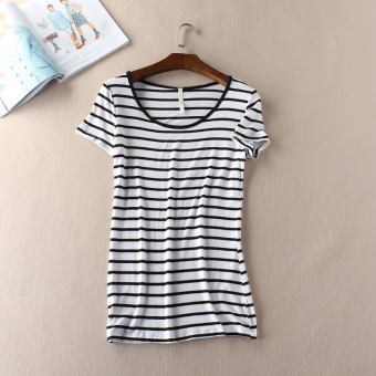 Harga Simple summer Slimming effect striped T-shirt