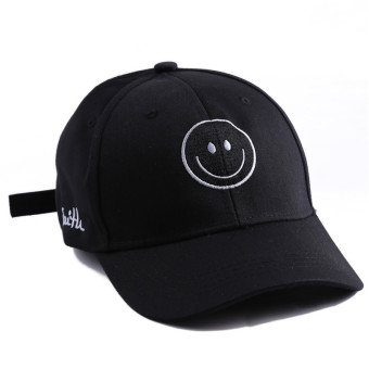 Harga Hanyu Fashion New Women Ladies Smile Face Solid Hip-pop Baseball Caps Hats Black - intl