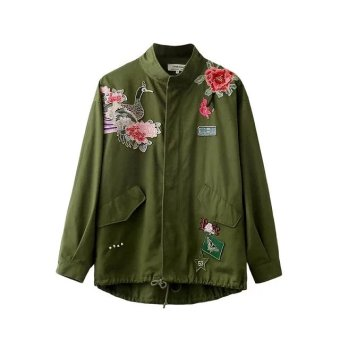 Harga Spanish women 2016 autumn new three-dimensional roses peacock embroidery short paragraph loose windbreaker jacket
