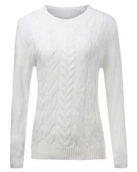 ZANZEA Women Winter Warm Embossed Knitted Long Sleeve Sweater