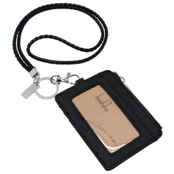 Harga Boshiho Saffiano Leather Badge Holder ID Card Holder with Coin Change Purse(Black with Keychain)