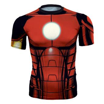 Harga Men's T-shirts Movie Iron Man Graphic Tee Shirts Compression Crew Neck Muscle t shirt Workout Shirts Fitted Polyester Active Shirt - intl