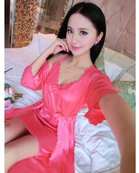 Harga Pudding Ladies Sexy two piece suit lace Home Furnishing sling pajamas Watermelon Red - intl
