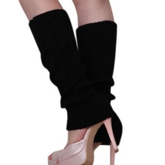 Women Winter Warm Knit Crochet High Knee Leg Warmers Leggings Boot Socks Slouch Black - intl