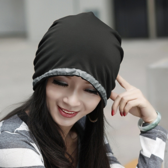 Harga Ms. korea daisuo baotou cap chemo turban cap hat korean version of the influx of spring and autumn fashion pullover cap month of cap (Black)