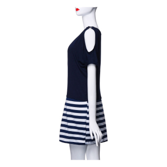 ZANZEA Ladies Sexy Striped Looae Party Batwing Mini Dress - Intl