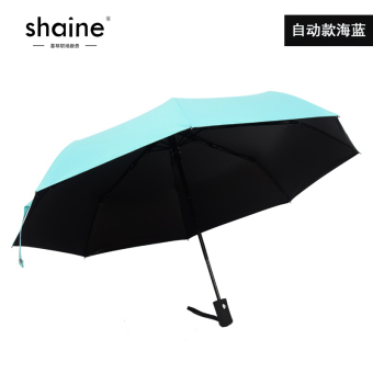 Harga Ms. male solid vinyl umbrella factory student umbrella sun umbrella folding umbrella automatic umbrella (Automatic paragraph navy)