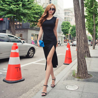 Harga Indole card summer new vest dress korean version of the sexy slit sleeveless dress and long sections slim bottoming shirt tide